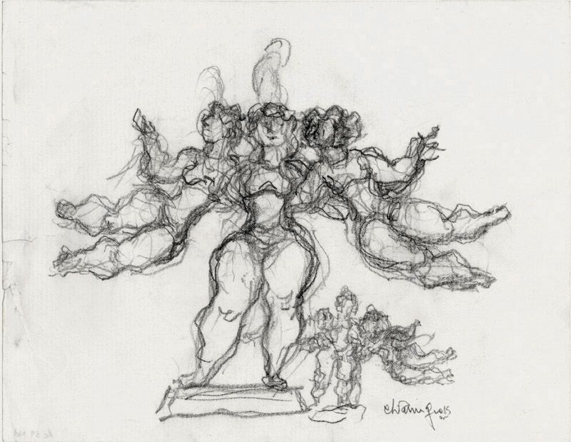 chaim gross, Three Performers, c. 1980, pencil on paper, 8 1/2 x 11 inches