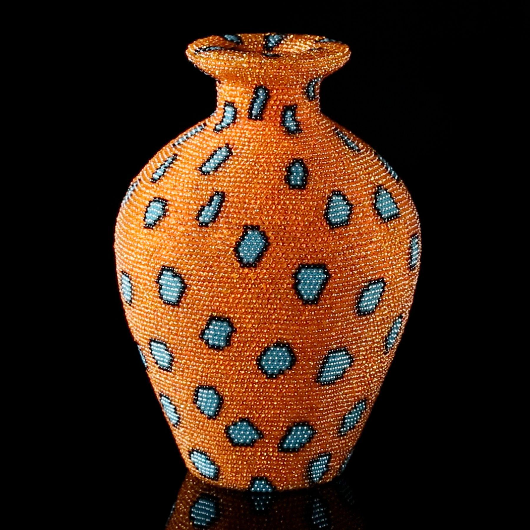 david mach, Coral Orange, 2012, plastic ball pins on foam, 12 x 8 1/4 x 8 1/4 inches