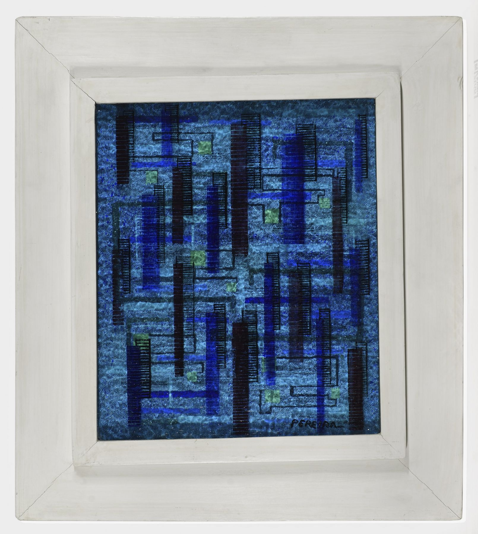 irene rice pereira, Three-Dimensional Composition in Blue, c. 1940 painted glass and board construction  11 1/2 x 9 1/2 x 1 1/8 inches  artist's shadow box frame: 17 1/8 x 15 7/8 x 1 5/8 inches