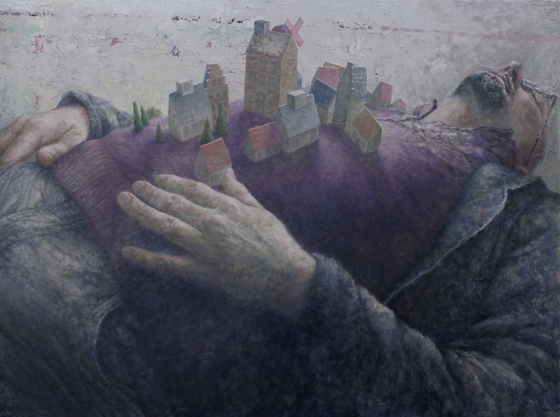 Michèle Fenniak, Town (Portrait of Paul) [SOLD], 2018, oil on panel, 17 3/4 x 23 3/4 inches