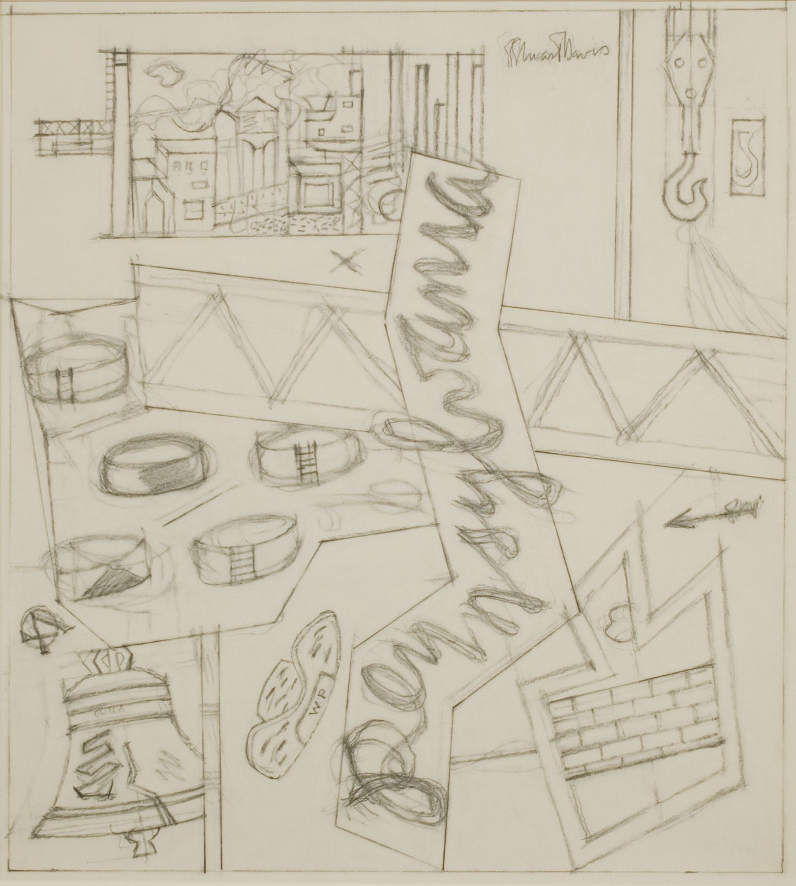 Stuart Davis, Sketchbook 23-1 (Study for 'Pennsylvania'), c. 1946, pencil on paper, 16 3/4 x 13 3/4 inches