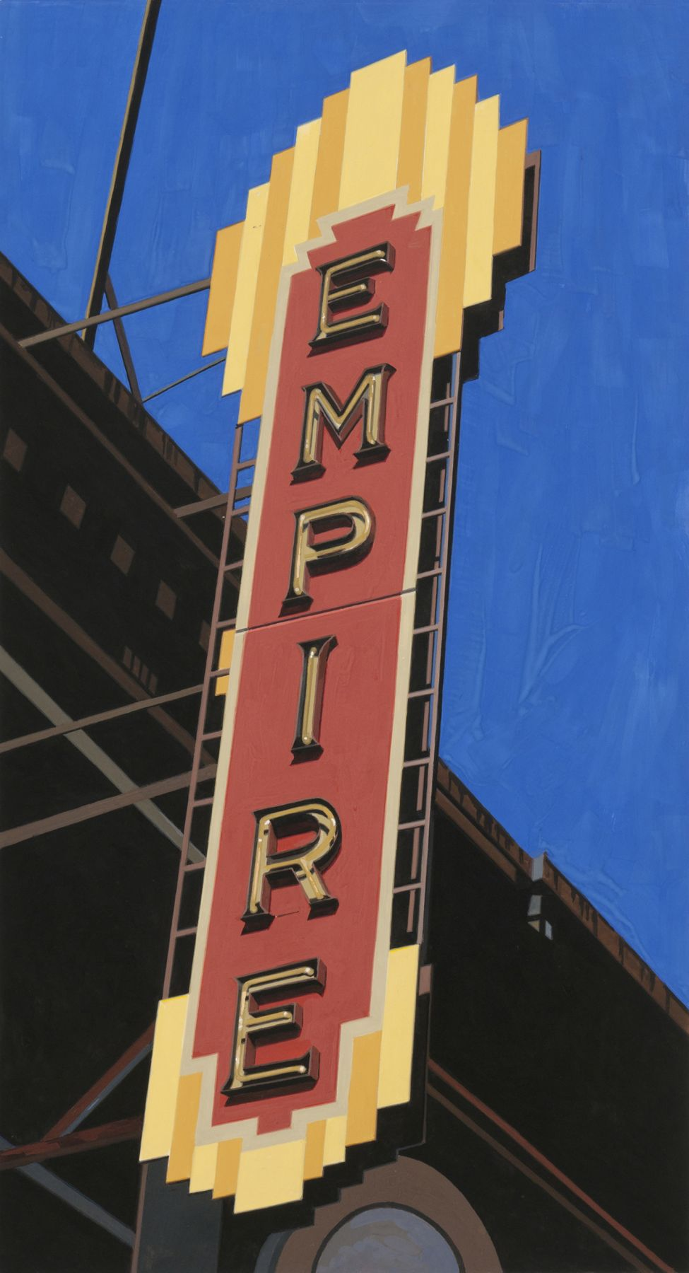 robert cottingham, Empire II (SOLD), 2010, gouache on paper, 27 1/2 x 15 inches