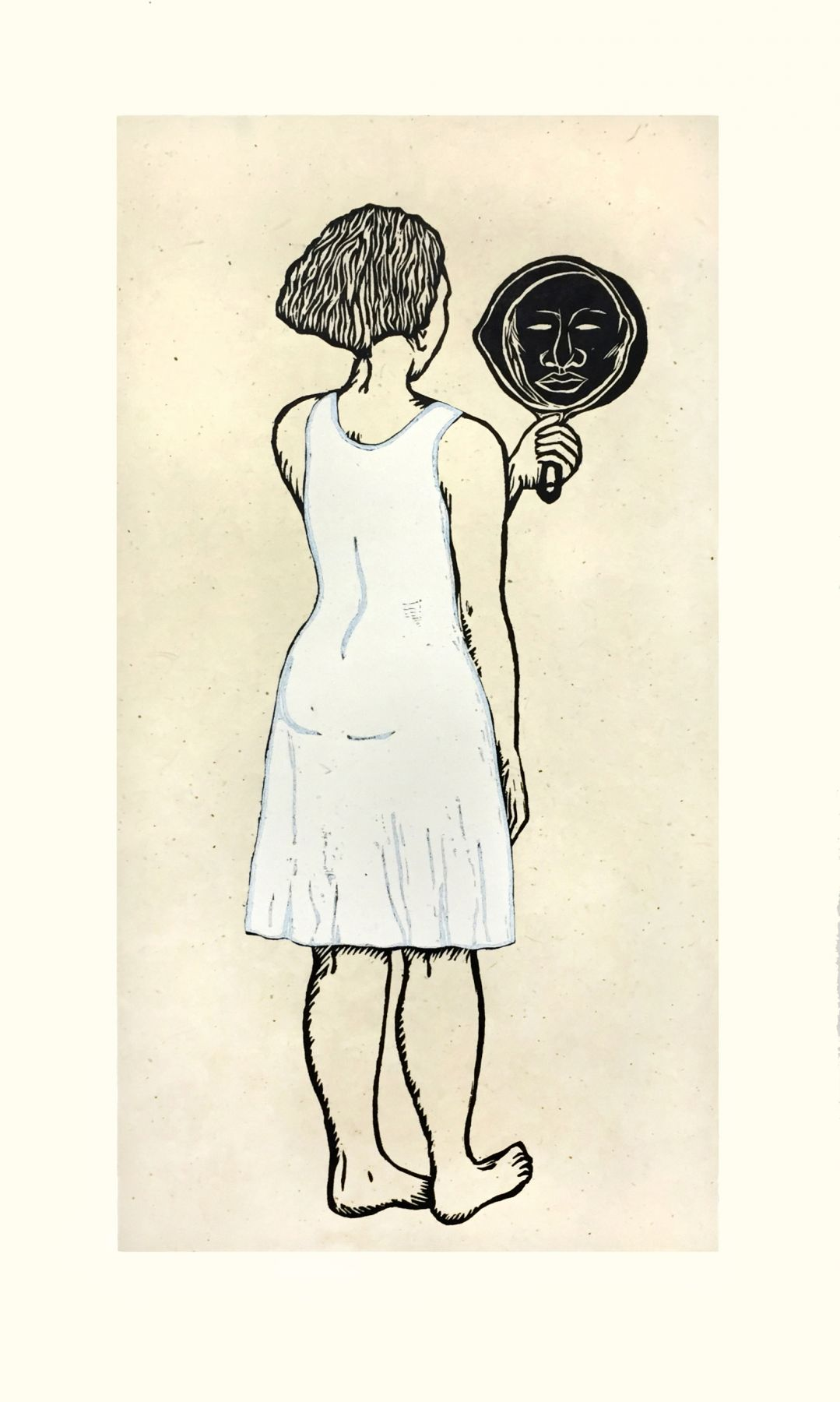 Alison Saar, Mirror, Mirror; Mulatta Seeking Inner Negress II, 2015, woodcut, chine collé, 38 x 21 1/2 inches, Edition 22/30