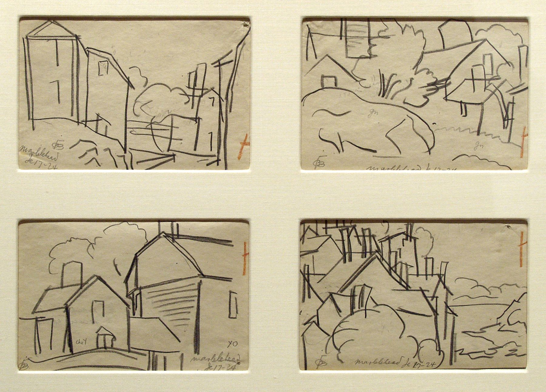 Oscar Bluemner, Marblehead, June 17, 1924, A-D, pencil on paper , 3 3/4 x 5 3/4 inches