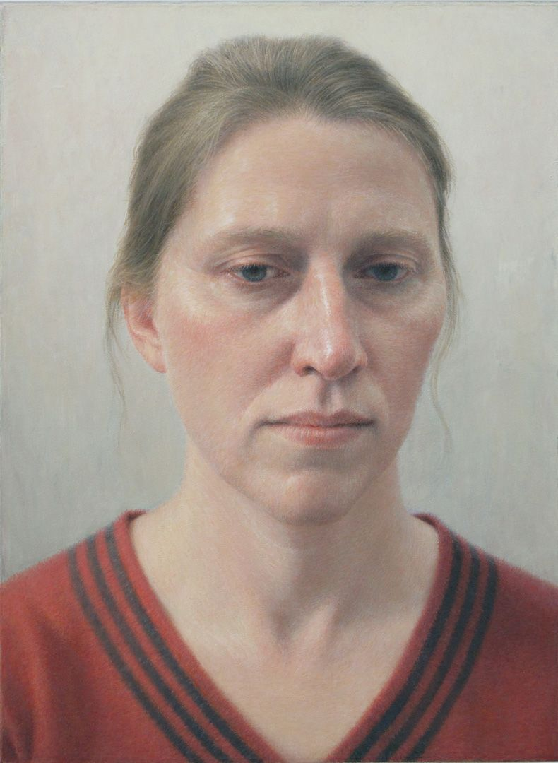 Robert Bauer, Erica in a Red Sweater, 2012, oil on canvas mounted on wood, 8 3/4 x 6 1/2 inches