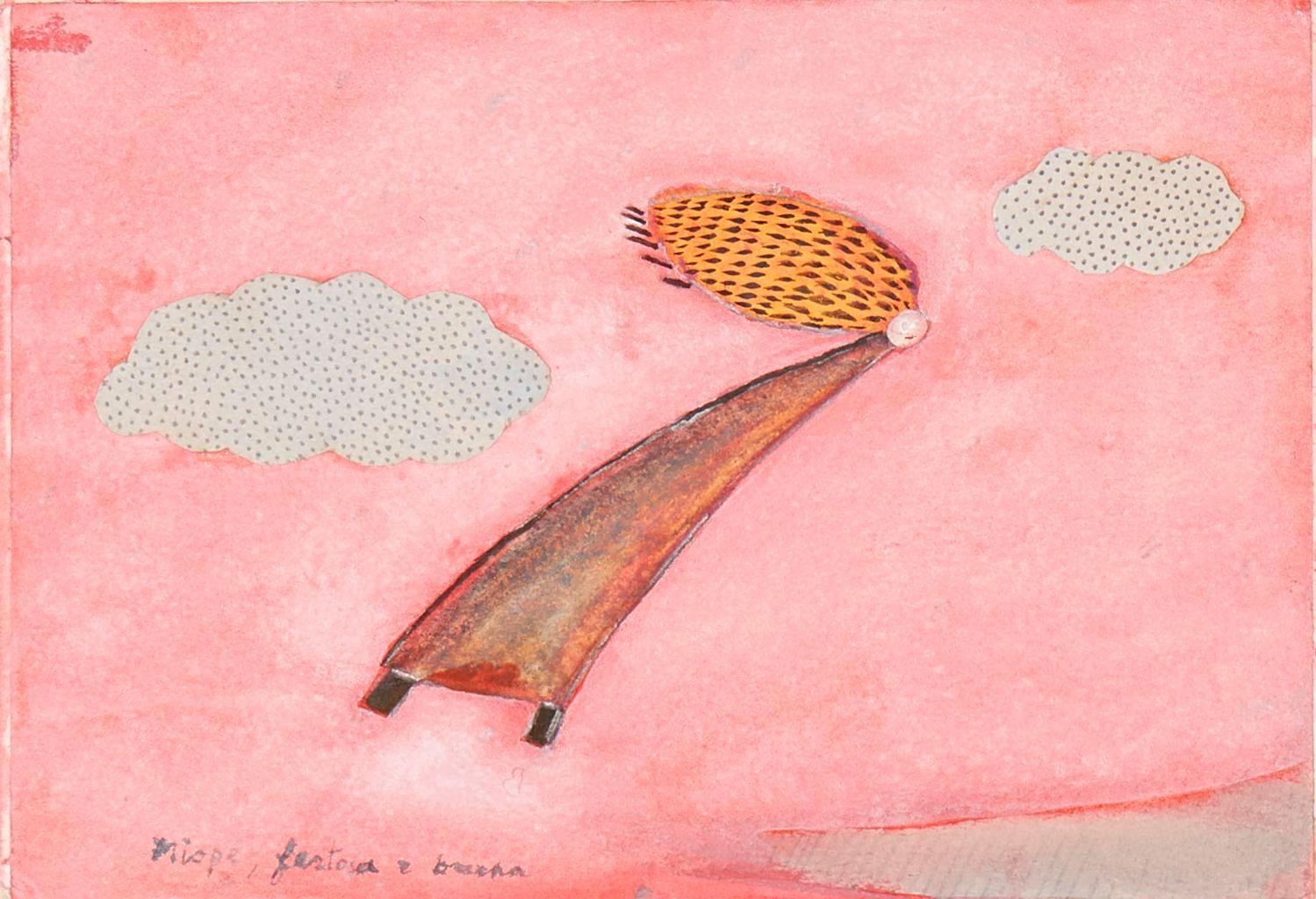 Paolo Colombo, Miope, Festosa e Bruna (1972), Watercolour collage on paper, 15.9 x10.9 cm