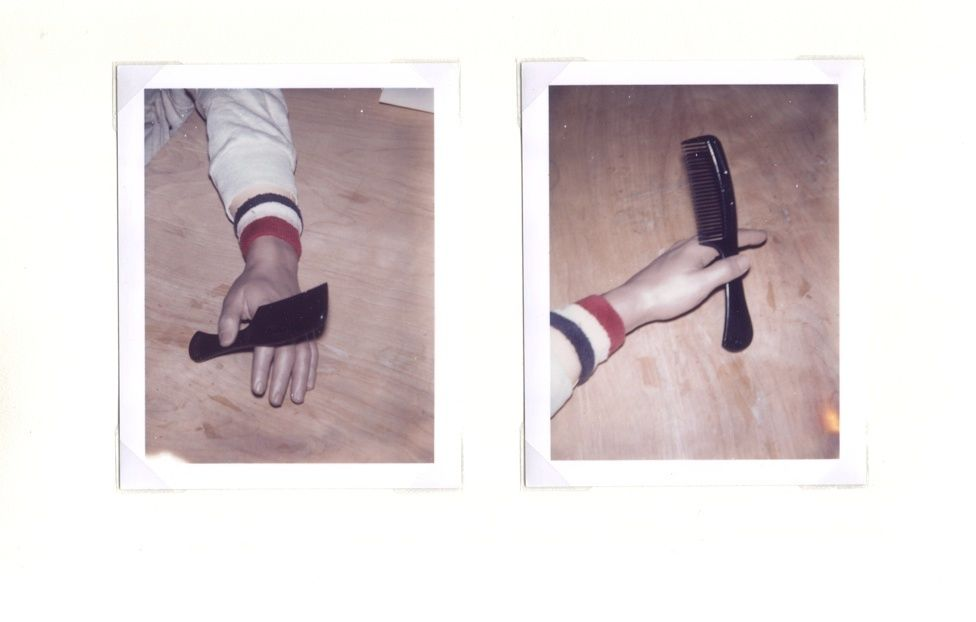 Untitled (2004 and 2006) (#3 and #4, hand and comb and wood)