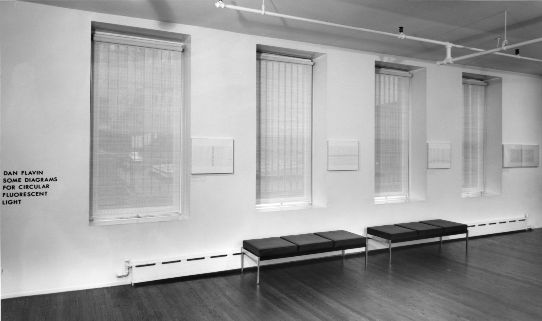 Installation view, Dan Flavin: Some Diagrams for Circular Fluorescent Light, 420 WEST BROADWAY