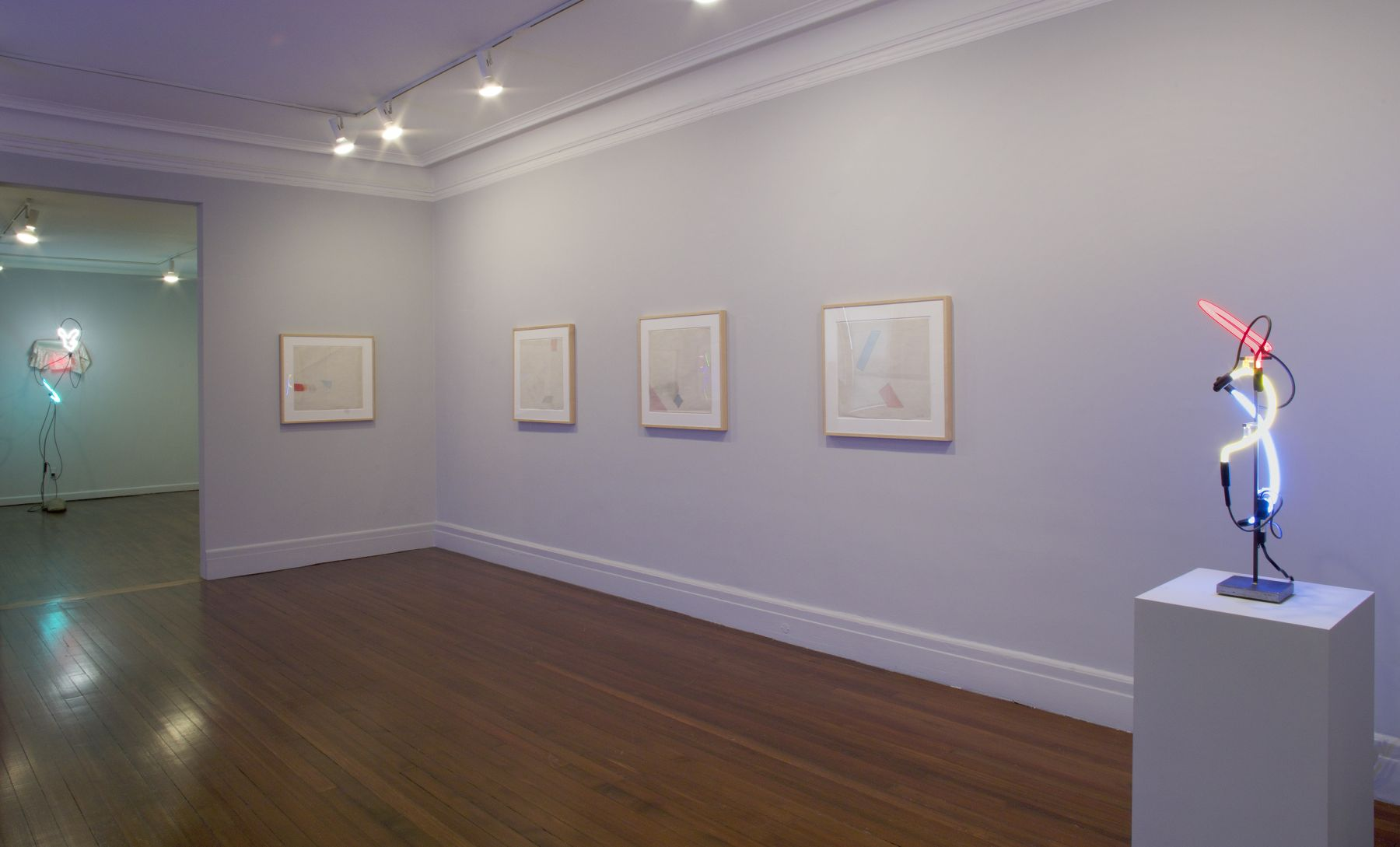 Installation view, Keith Sonnier: Early Concepts / Recent Sculptures, 18 EAST 77