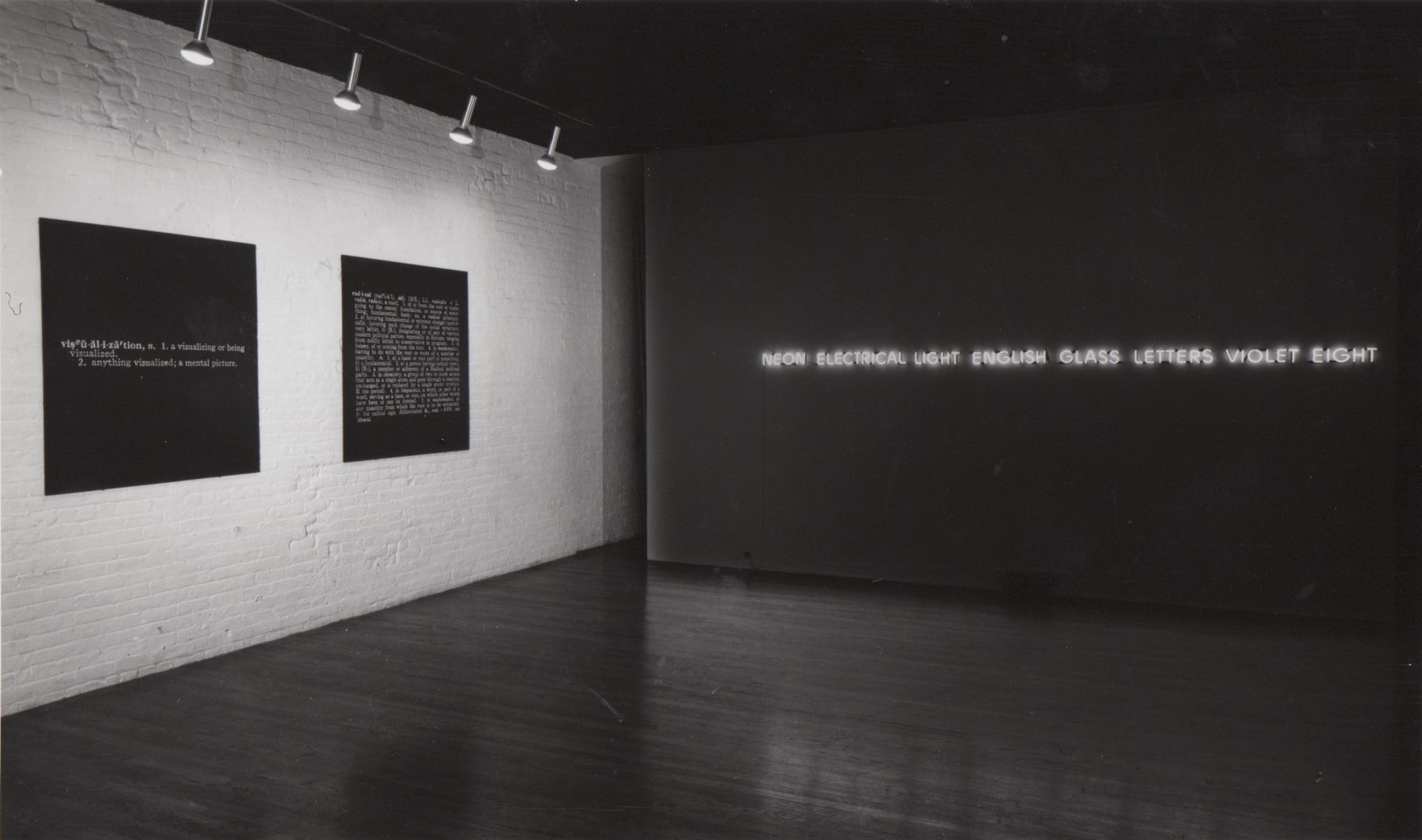 Installation view, Joseph Kosuth: Protoinvestigations 1965 - 1967, 420 WEST BROADWAY.