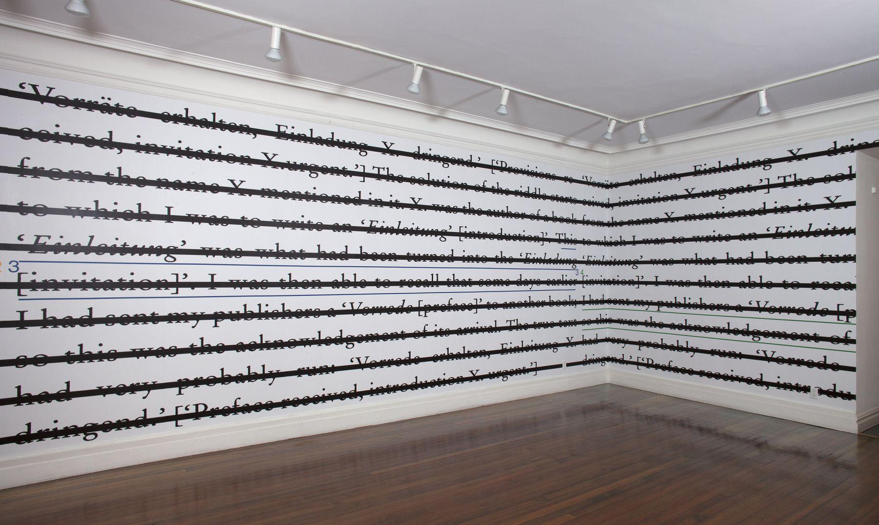 Installation view, Joseph Kosuth: Freud, Wittgenstein and Musil, 18 EAST 77.