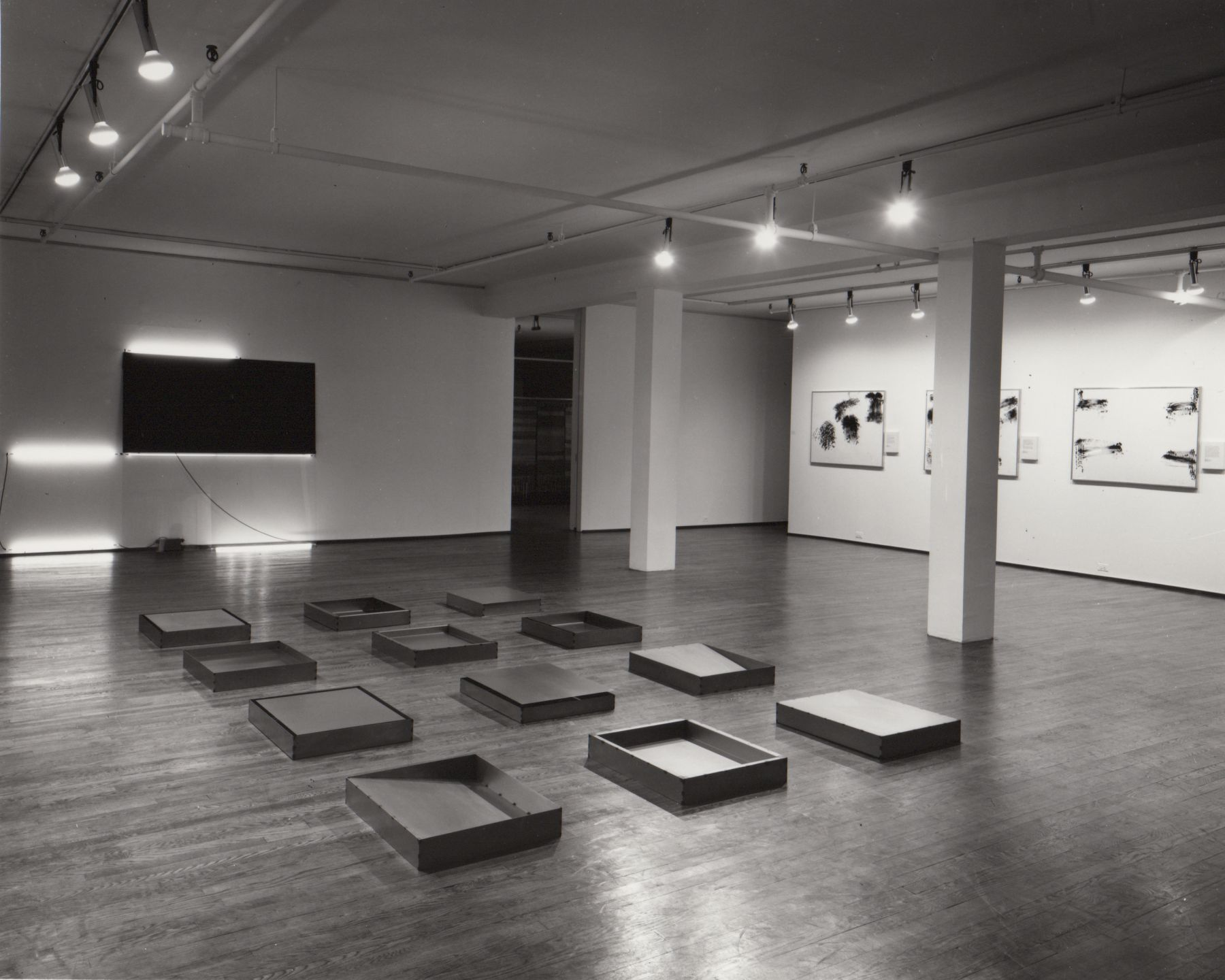Installation view, Robert Barry, Donald Judd, Robert Morris, Keith Sonnier, 420 WEST BROADWAY.