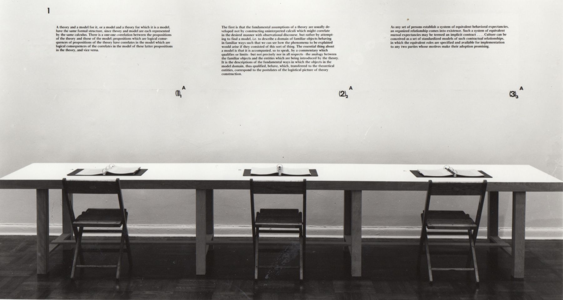 Installation view, Joseph Kosuth: The Ninth Investigation, Proposition One, 4 EAST 77.
