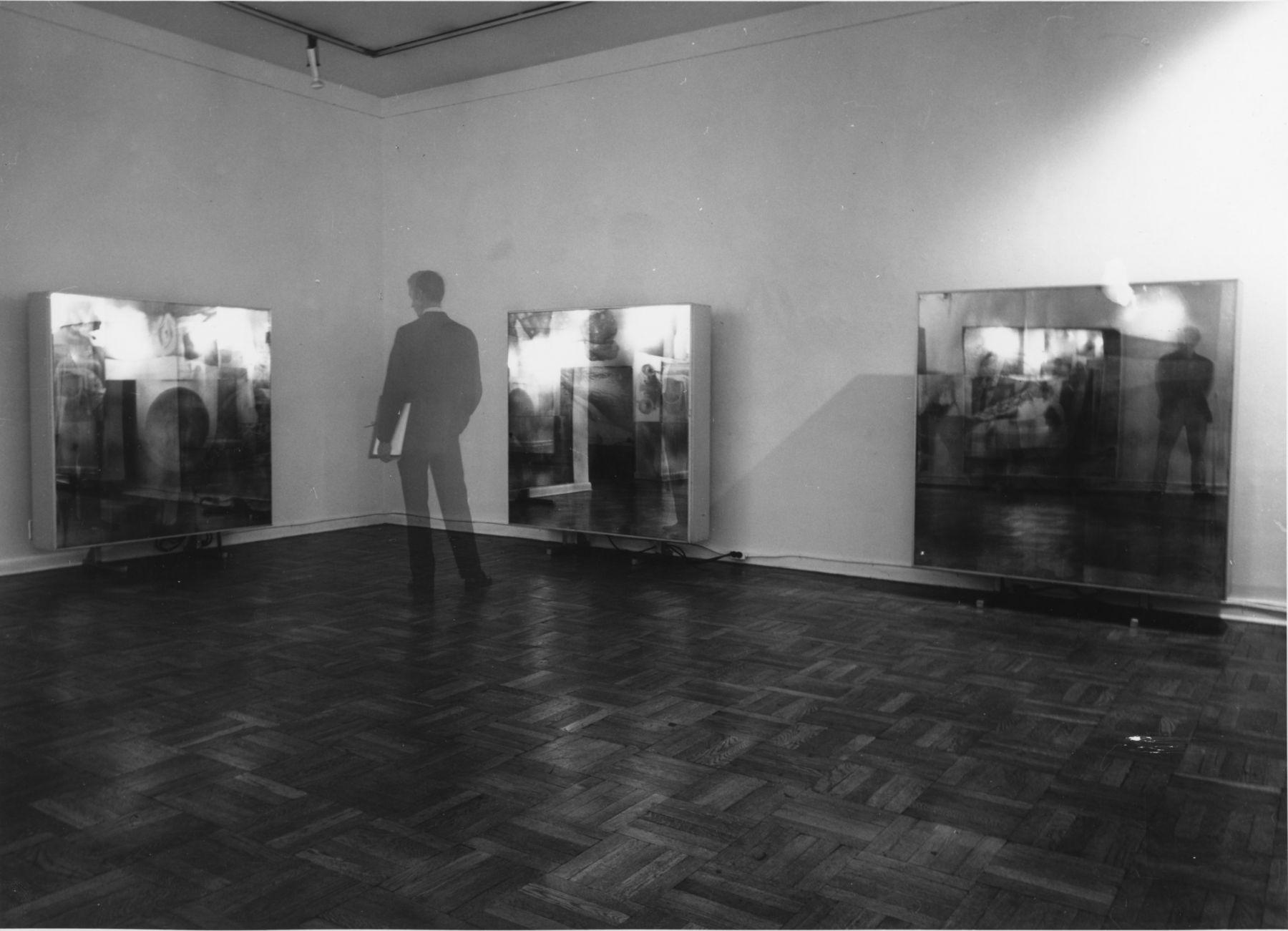 Installation view, Robert Rauschenberg: Carnal Clocks, 4 EAST 77