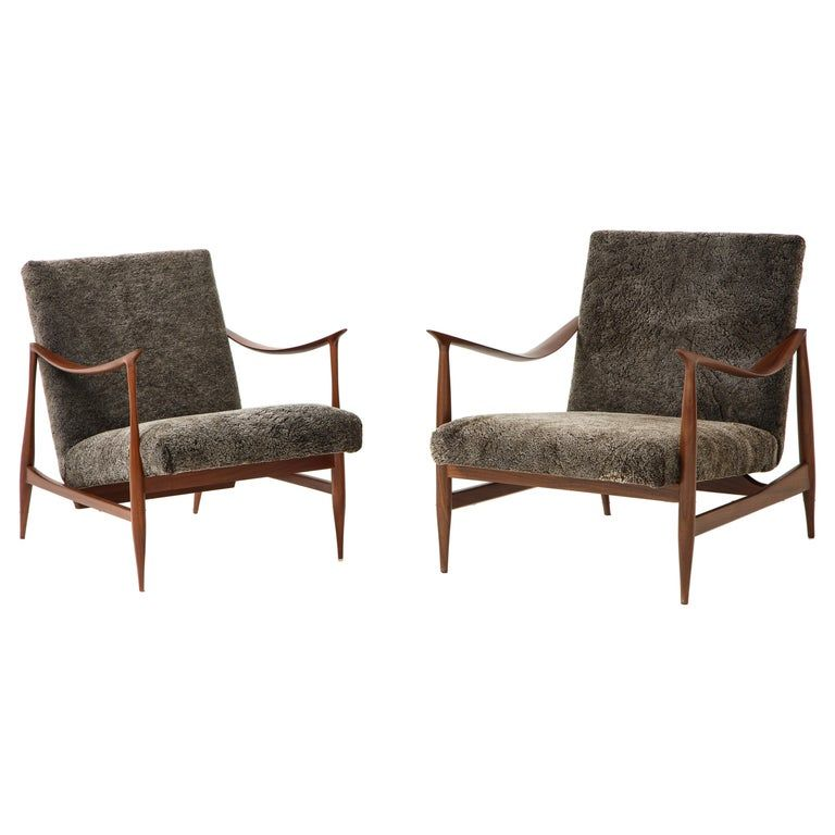 Amazing Brazilian Style Lounge Chairs With Walnut Frames And Wool Ibusinesslaw Wood Chair Design Ideas Ibusinesslaworg