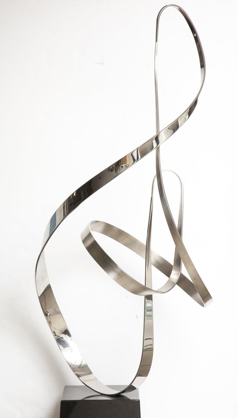 """Gary Traczyk Signed Stainless Steel Kinetic Sculpture """"Infinity"""""""