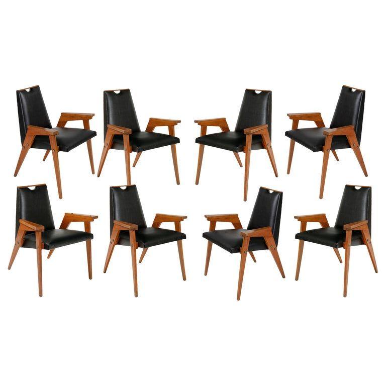 Strange Set Of 8 Wood Framed Dining Chairs Upholstered In Black Creativecarmelina Interior Chair Design Creativecarmelinacom