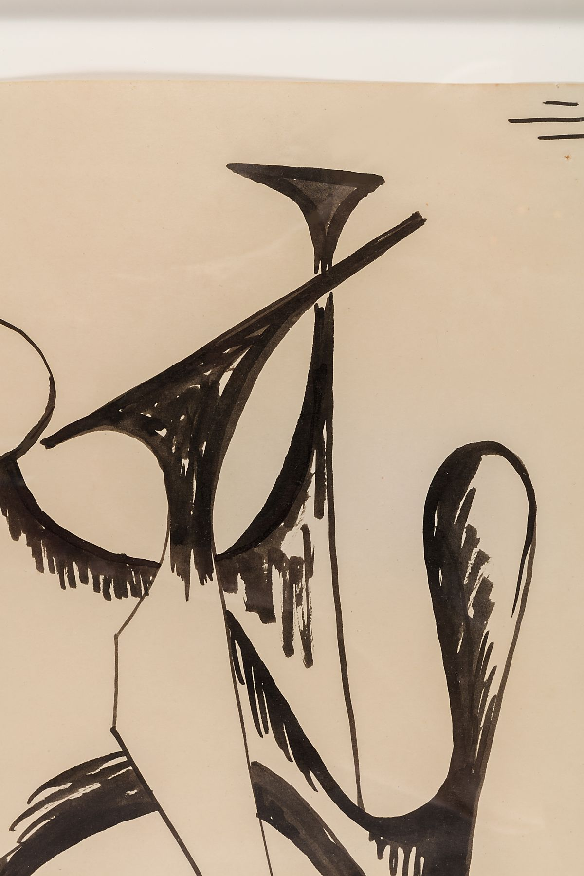 """Alexander Calder Signed & Dated India Ink on Paper """"Stabile Drawing"""""""