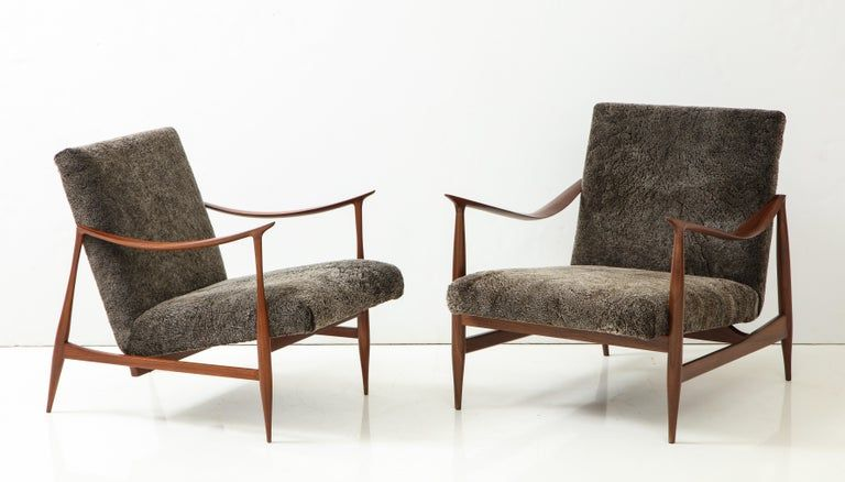 Brazilian Style Lounge Chairs with Walnut Frames and Wool Upholstery