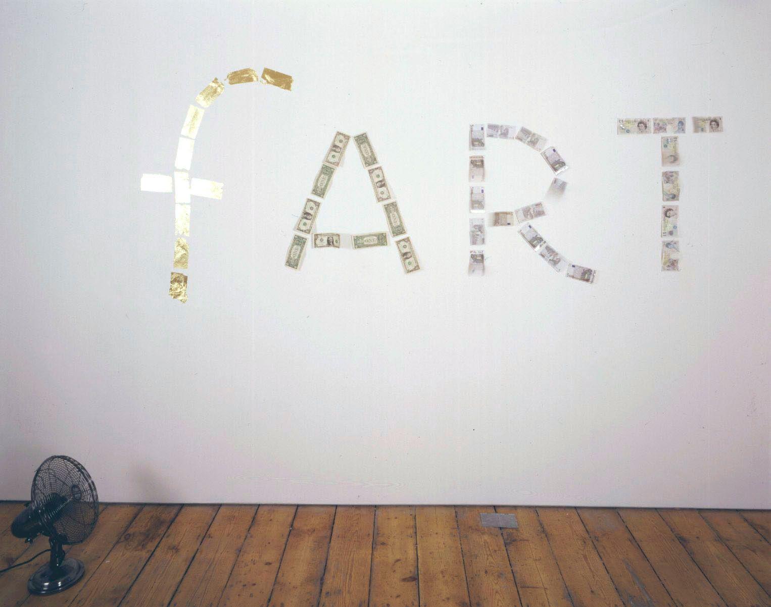 Fart 2002 bank notes, fan, gold leaf (pounds version)