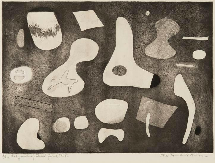 Labyrinth of Closed Forms, 1945, etching on paper, 14 1/4 x 19 3/8 in. ed. 10/20
