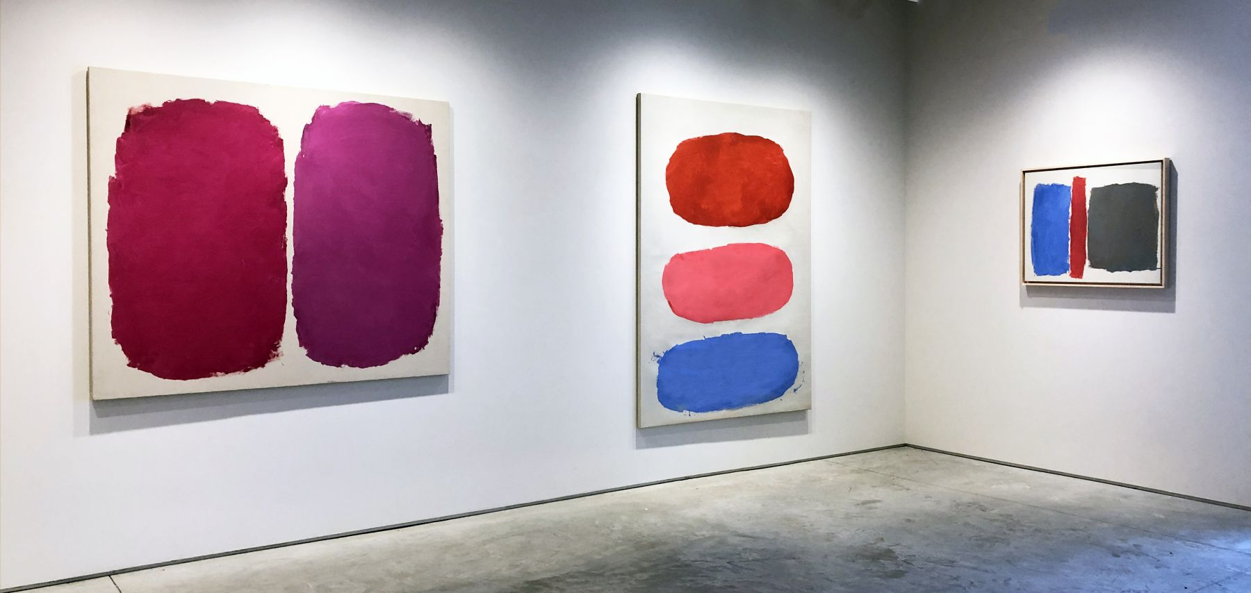 (from left) Untitled, 1960, oil on canvas, 51 x 60 in., Untitled, 1959, oil on canvas, 71 1/4 x 50 1/4 in., Untitled (#446), 1961, oil on canvas, 25 x 31 in.