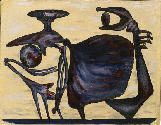 """DAVID SMITH (1906-65), """"Untitled (two bony figures)"""", 1946  Oil on paperboard 23 1/4 x 30 in."""