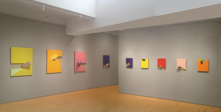 """Installation view: Charles Hinman, """"Space Windows"""" from 2008, Washburn Gallery, April 16 - June 26, 2015"""
