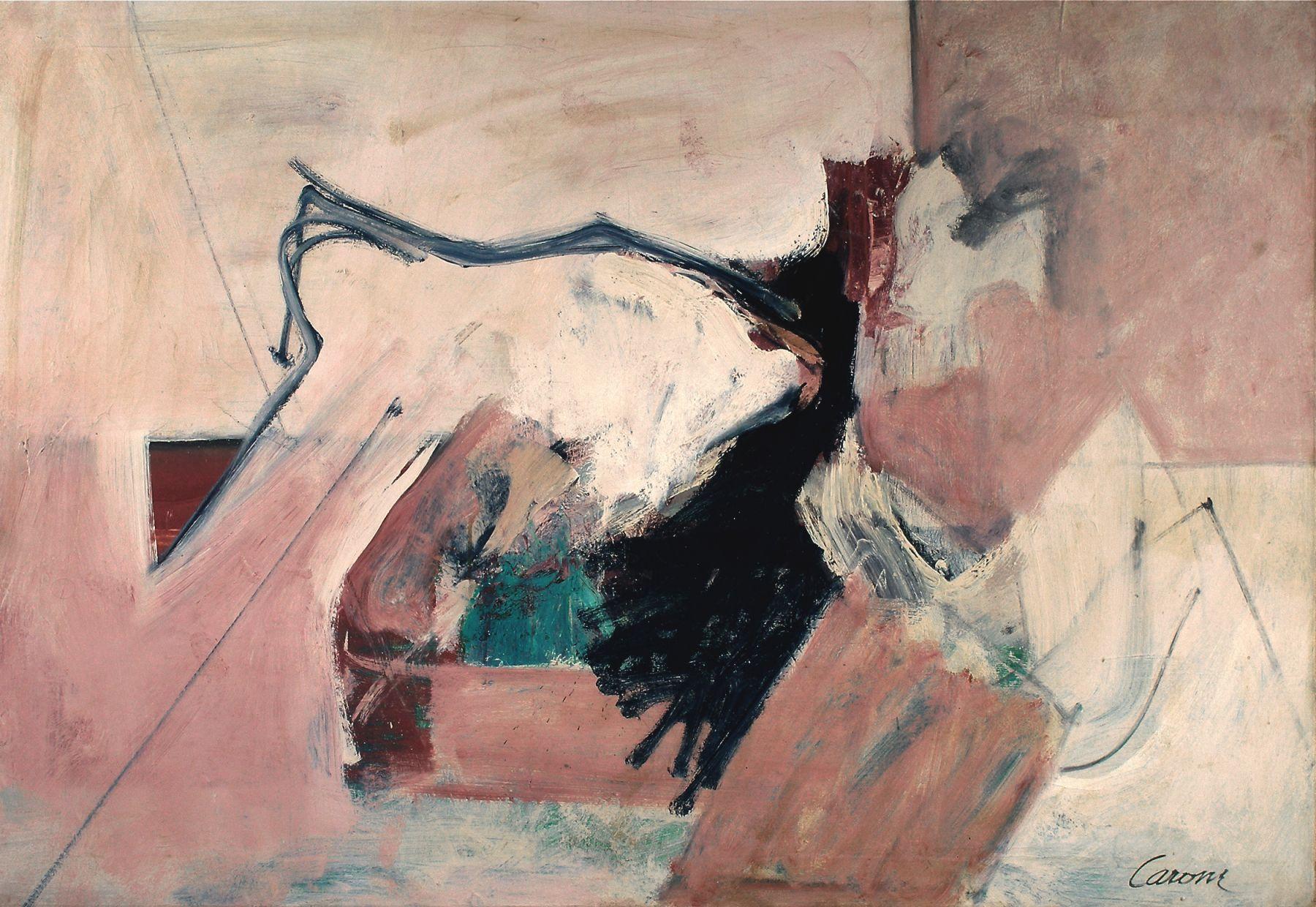 """NIcolas Carone, """"Escape Plan,"""" c. 1958, oil on canvas, 40 x 58 in."""