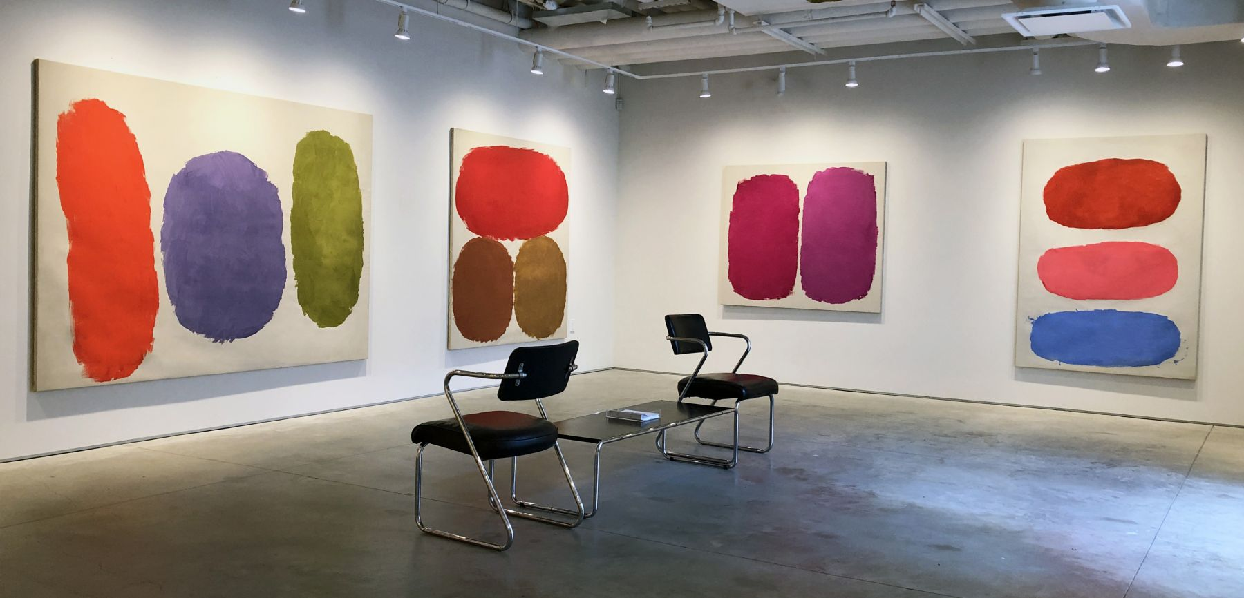 (from left) Untitled, 1958, oil on canvas, 69 x 92 5/8 in., Untitled, 1959, oil on canvas, 69 1/4 x 62 3/4 in., Untitled, 1960, oil on canvas, 51 x 60 in., Untitled, 1959, oil on canvas, 71 1/4 x 50 1/4 in.