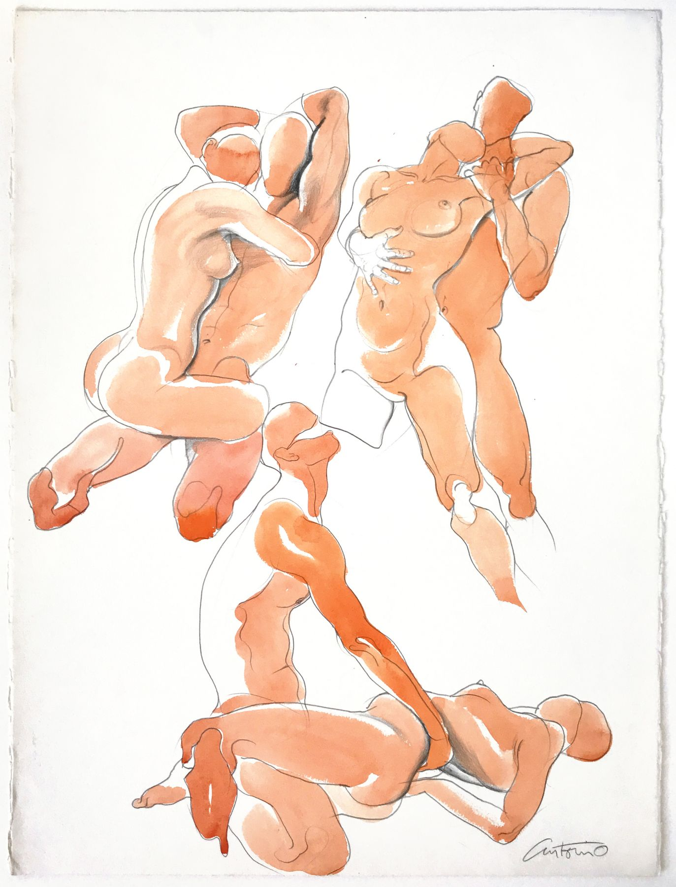 Drawing of three couples by Antonio Lopez