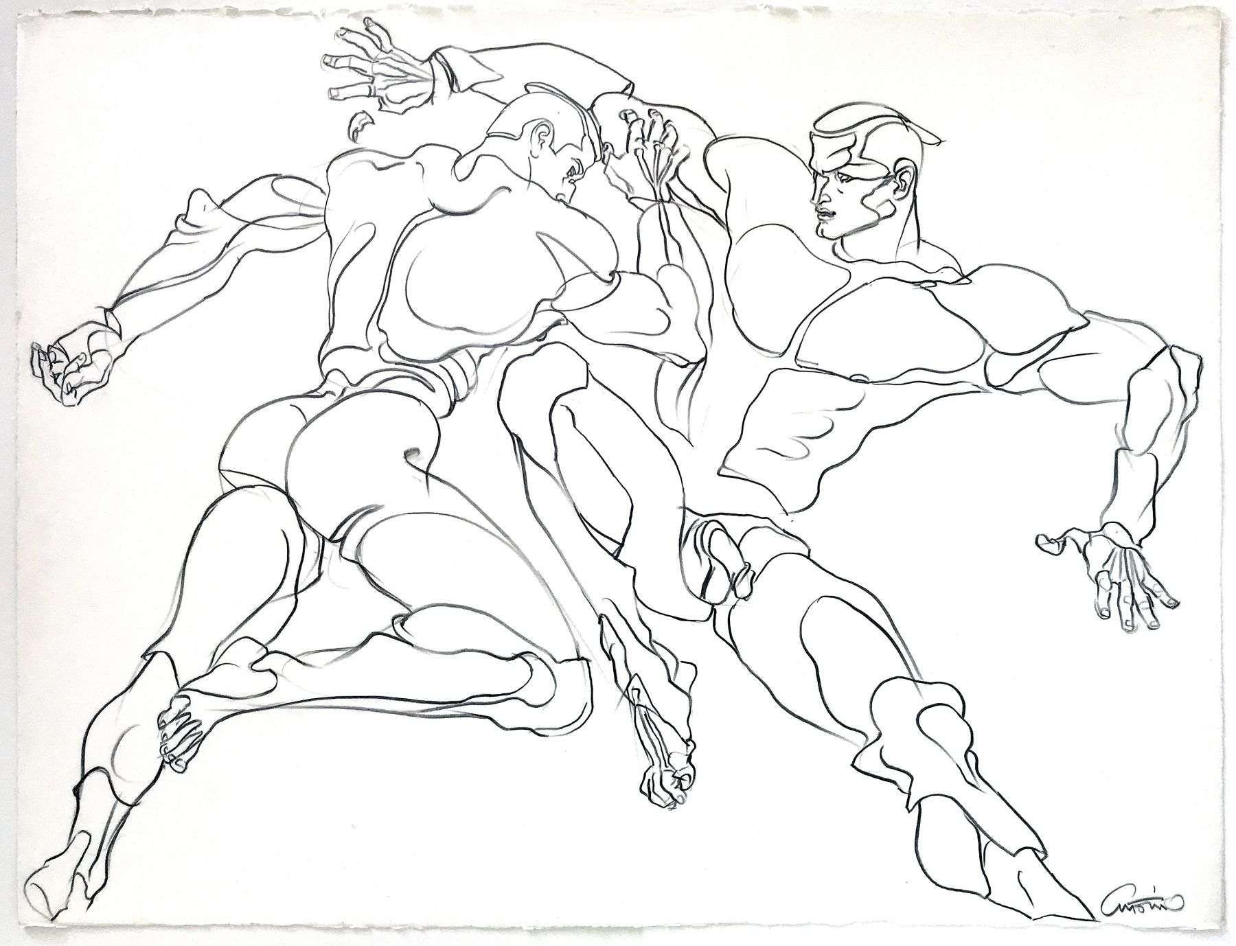 Drawing of wrestlers by Antonio Lopez