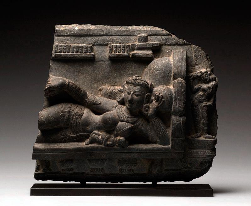 Suchismati and Grihapati, Gray/black stone, India, Pala period, 11th century