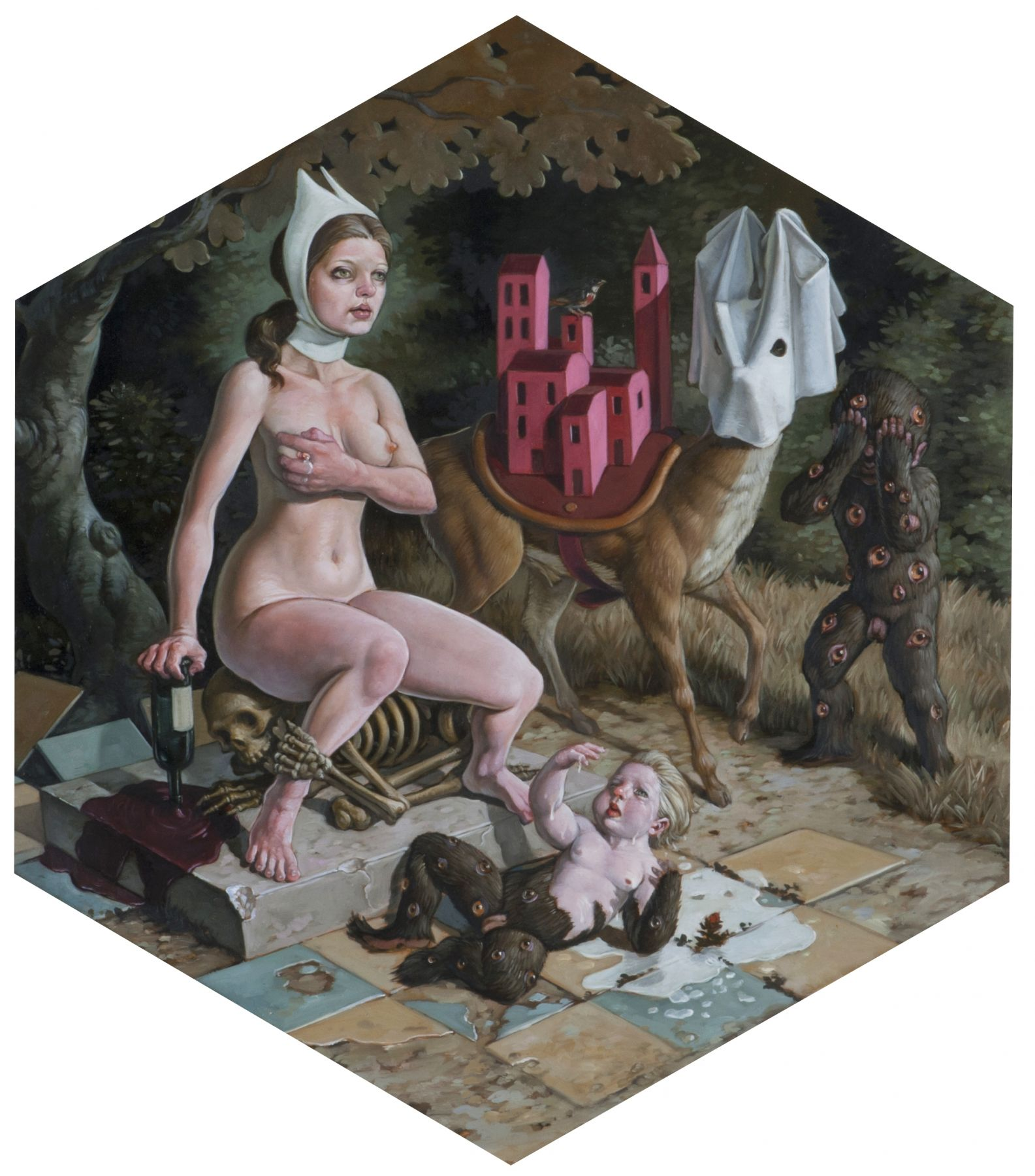 ERIK THOR SANDBERG  They Are Beasts  2017, oil on wood panel, 13 x 11 inches