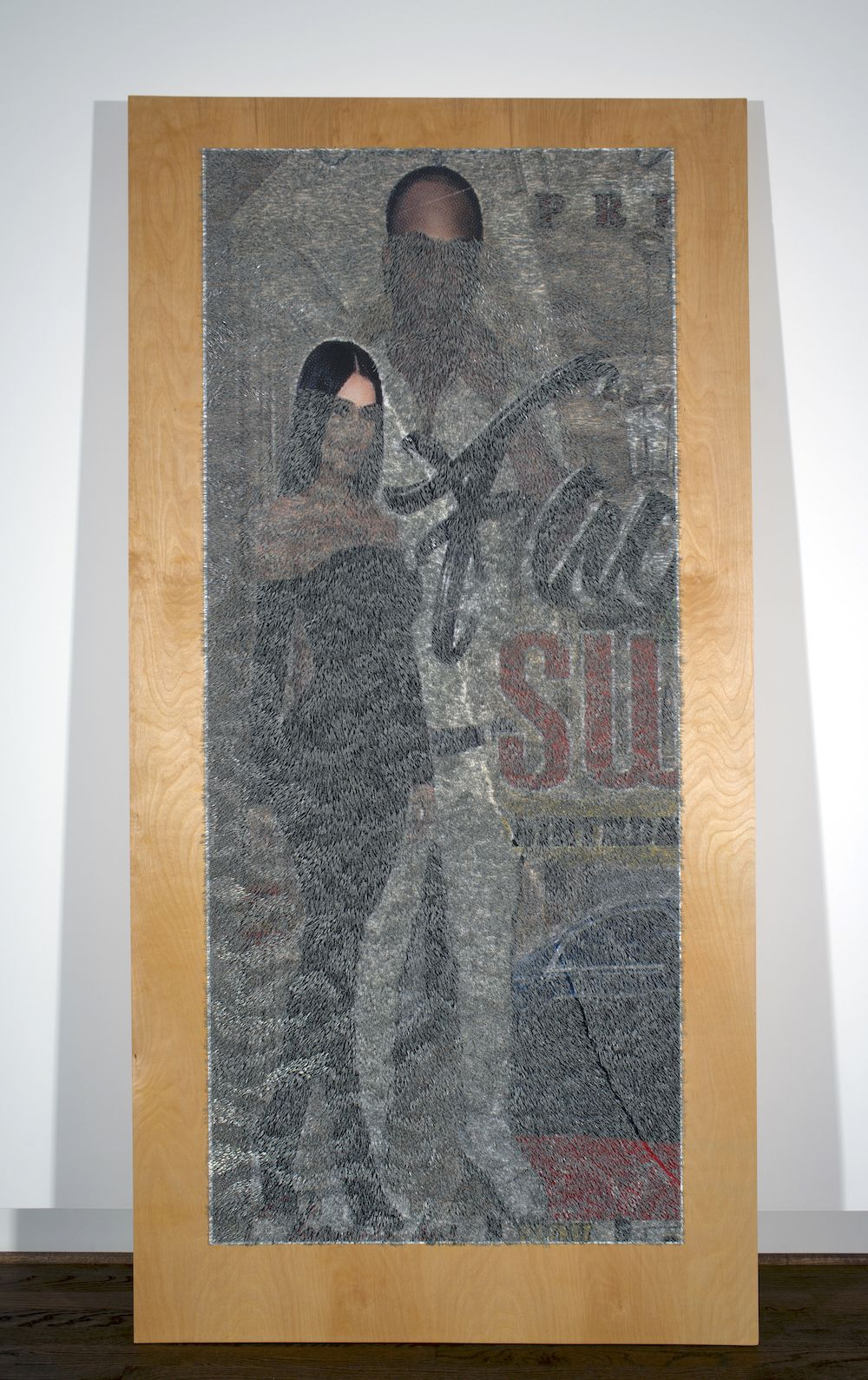 WILMER WILSON IV   PRE su  2018 staples and pigment print on wood 96 x 48 x 1.5 inches