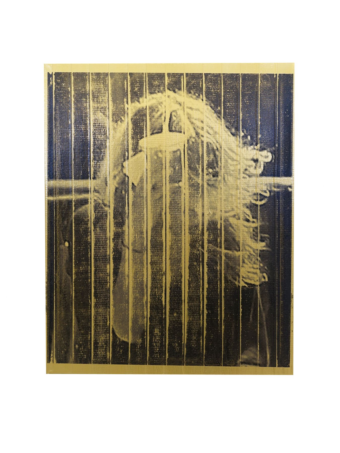 CHRIS WILLIFORD Existential Crisis (Gold Mary-Kate) 2015, screenprint and varnish on duct tape canvas, 24 x 30 inches.