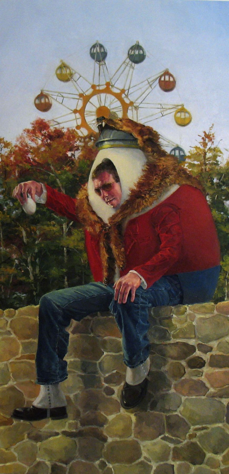 NATHANIEL ROGERS Dumpty 2009, oil on panel, 12 x 6 inches.