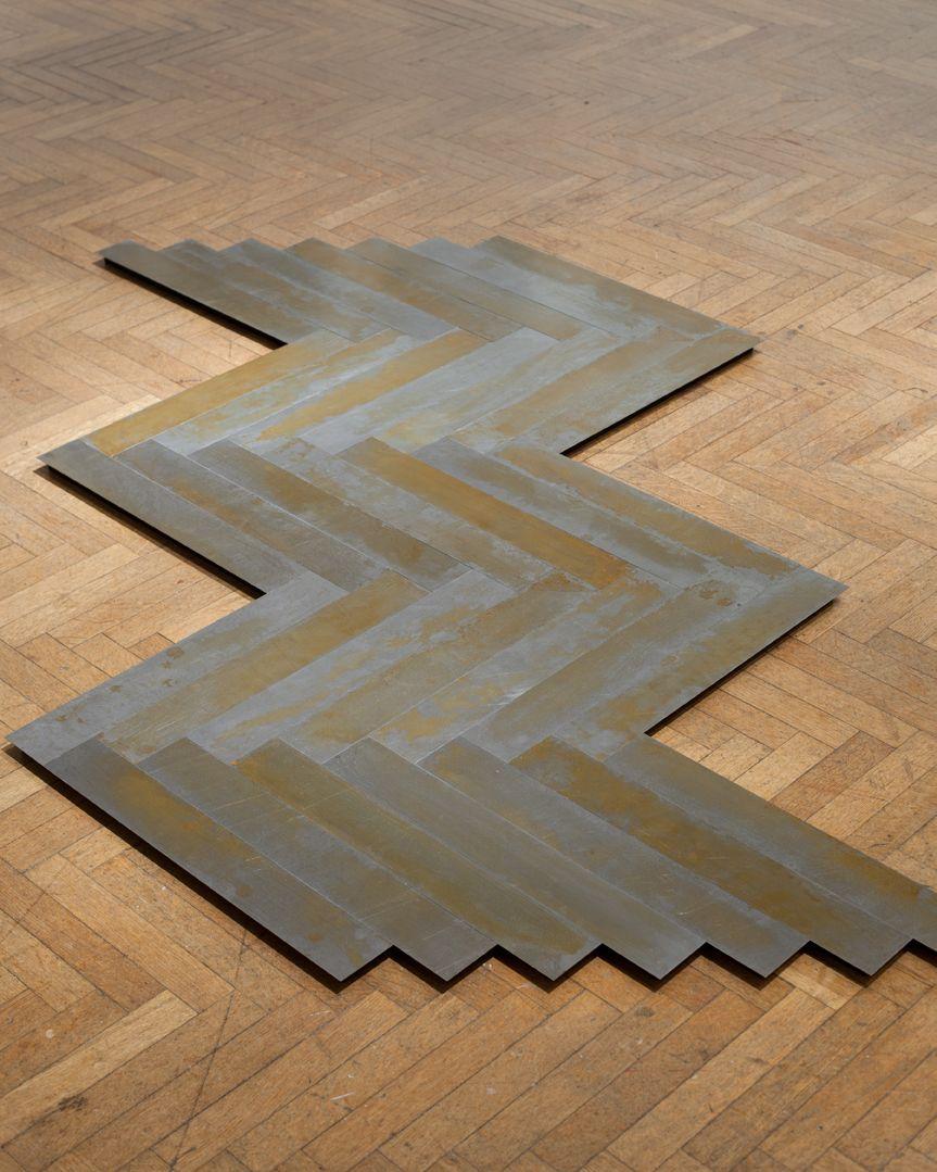 MICHAEL SCHIFFER  Wood Grain Herringbone #1  2016, patina, steel, 73 x 43 x 1 inches.