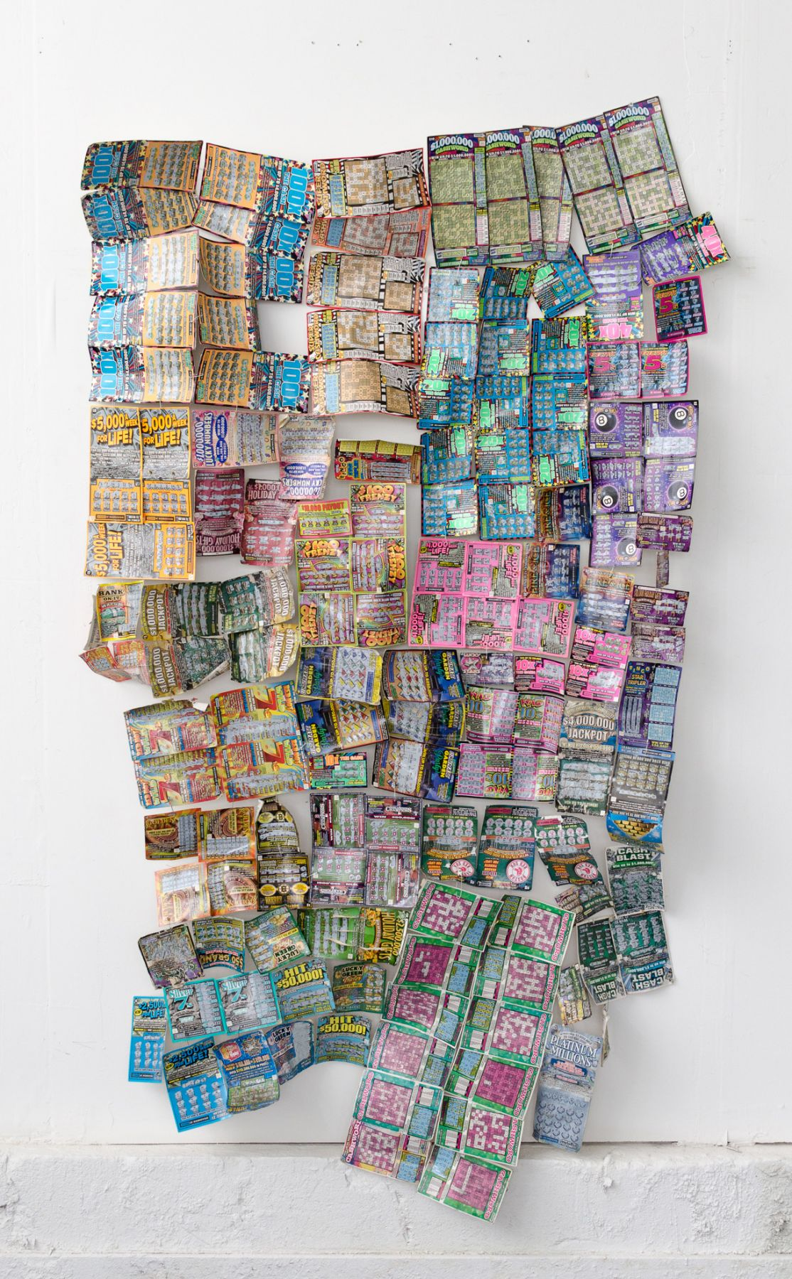 WILMER WILSON IV  Boston Fabric  2015/2017, lottery tickets, safety pins, dimensions variable