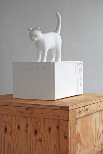 Kenny Hunter Cat with microwave polyester resin, paint, 31.5 x 18 x 21.5 inches sculpture
