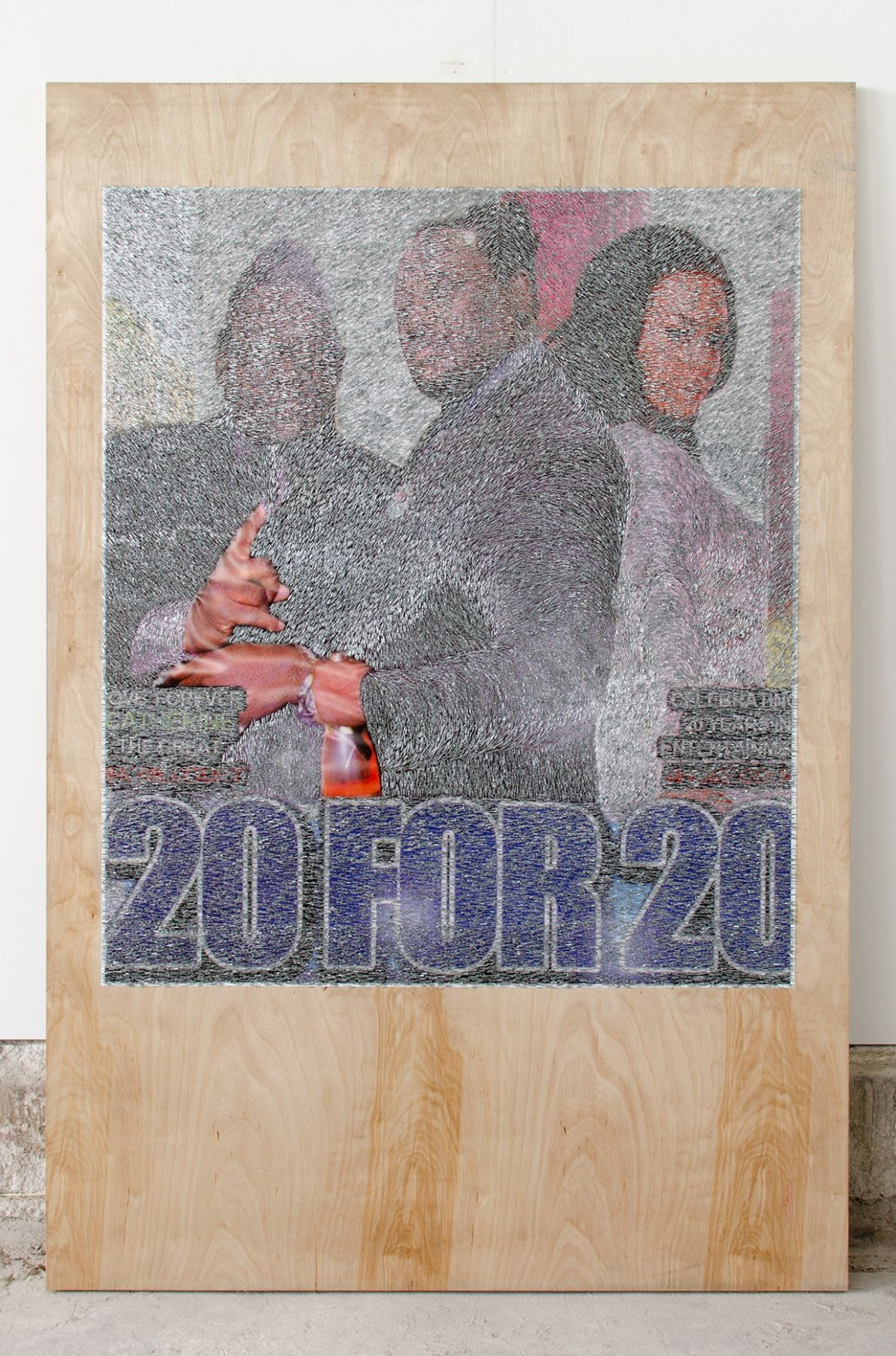 WILMER WILSON IV 20 FOR 20  2016, mixed media on wood, 72 x 48 inches