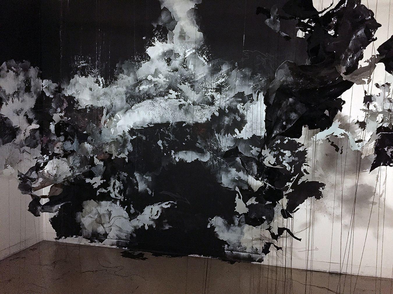 """JOWITA WYSZOMIRSKA  Przeswity, rozwidla (""""It grows and bifurcates until the whole"""") 2015, paint, Mylar, thread, felt, pins, 10 x 15 x 10 feet."""