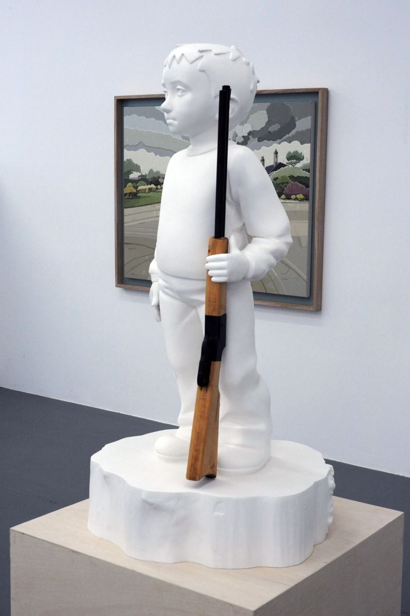 KENNY HUNTER Boy with rifle polyester resin, acrylic resin, wood, paint, 54 x 29.5 x 29.5 inches sculpture