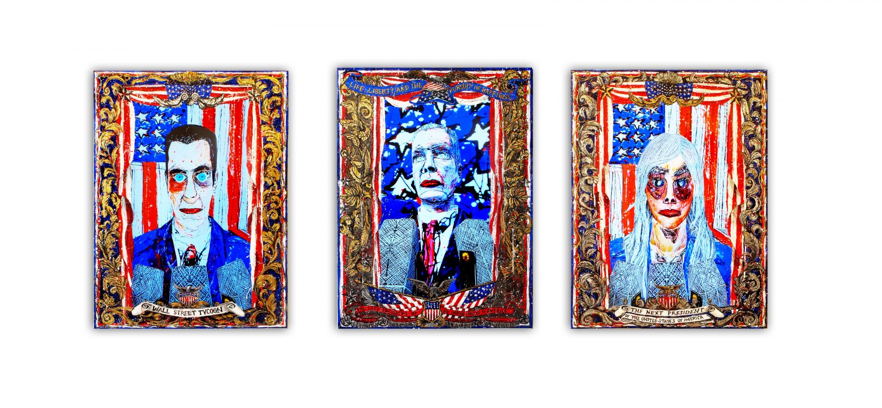 Federico Solmi_American Circus (Installation view) 2014, 3 video paintings, acrylic paint on plexiglass, gold and silver leaf, video loop, time varies, 18 x 24 inches (each)