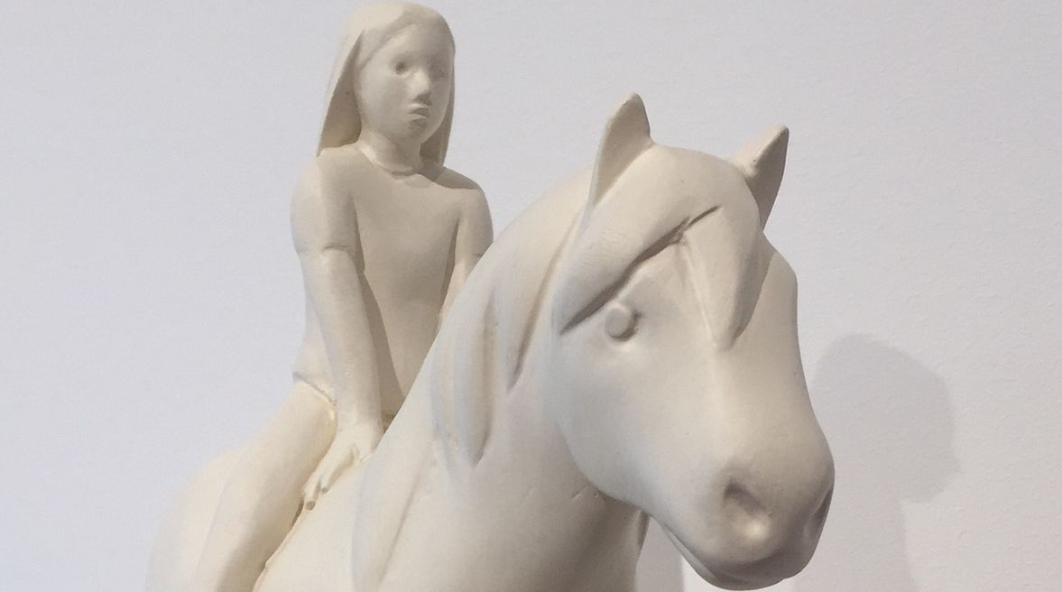 Kenny Hunter, Girl with Pony, 2012, acrylic resin, paint, 18 x 18 x 4 inches.