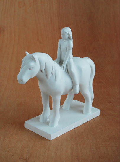 KENNY HUNTER  Girl with Pony  2012, acrylic resin, paint, 18 x 18 x 4 inches.