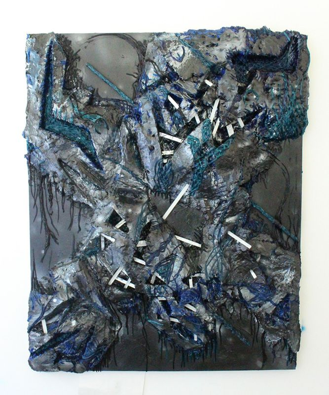 CALLI MOORE Resurrected 2016, foam, acrylic and stone on wooden panel, 60 x 42 inches.