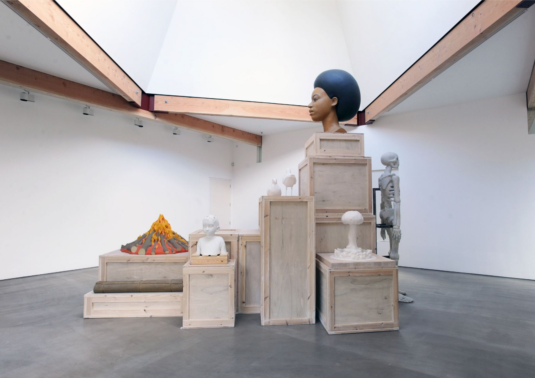 KENNY HUNTER Kontrapunkt wood, resin, paint, steel, 149.6 x 189 x 133 inches installation view