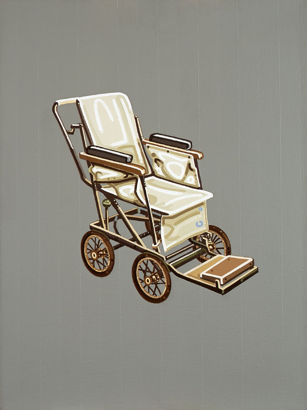 Julie Roberts Canvas Wheelchair, oil on acrylic on canvas, 15.75 x 11.81 inches