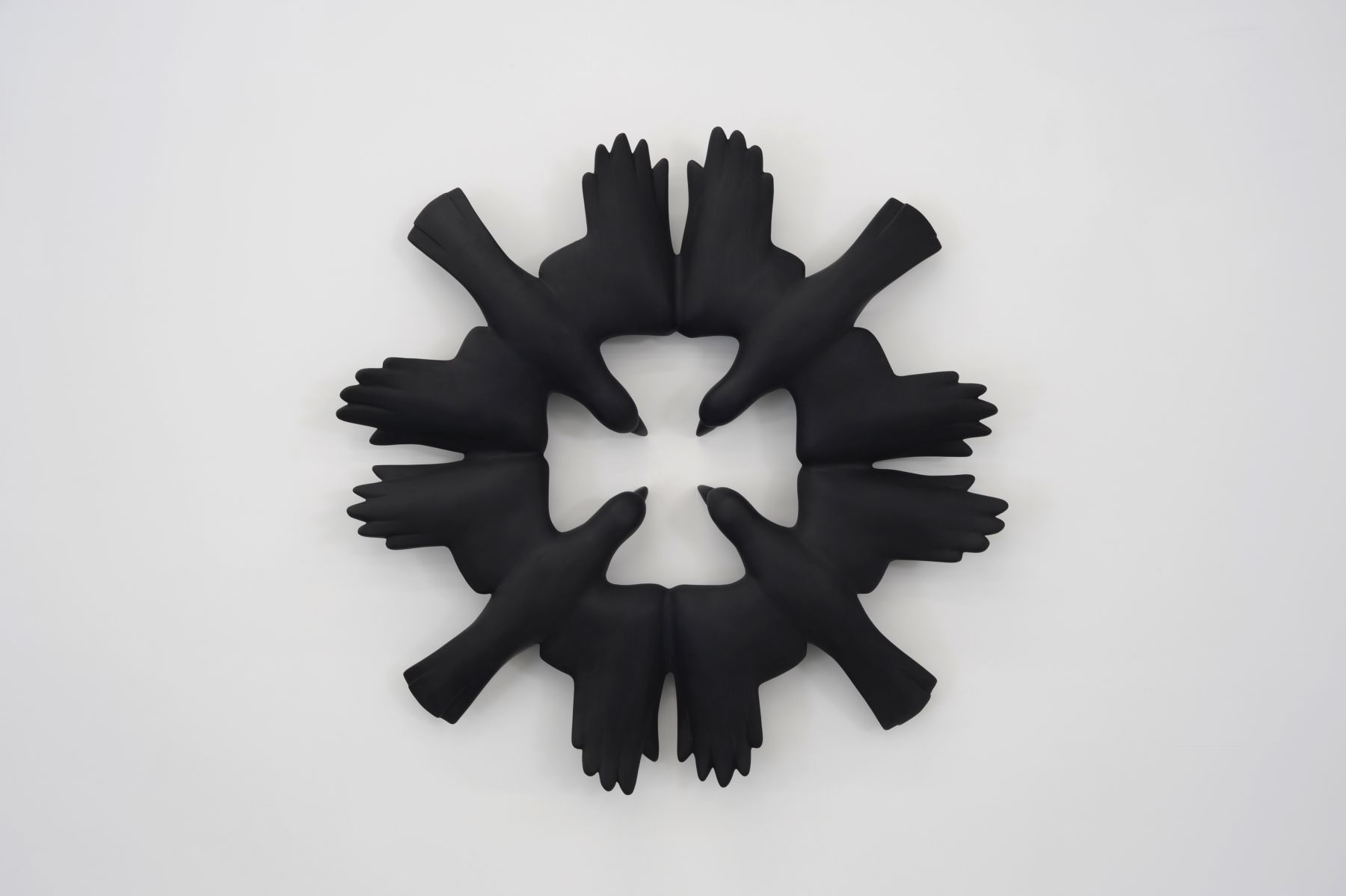 KENNY HUNTER Roche Rooks 2008, jesmonite and paint, 47 x 47 x 6 inches